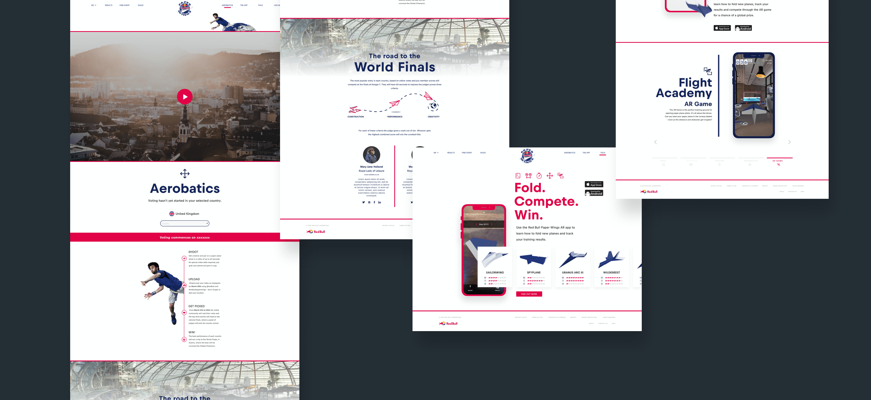 Some shots of the website advertising aerobatics & the mobile app