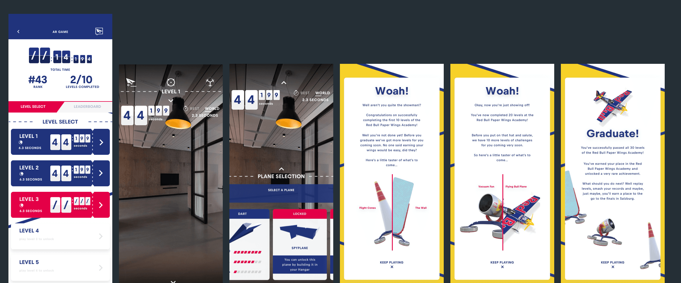 Screen designs for the flight academy section of the app