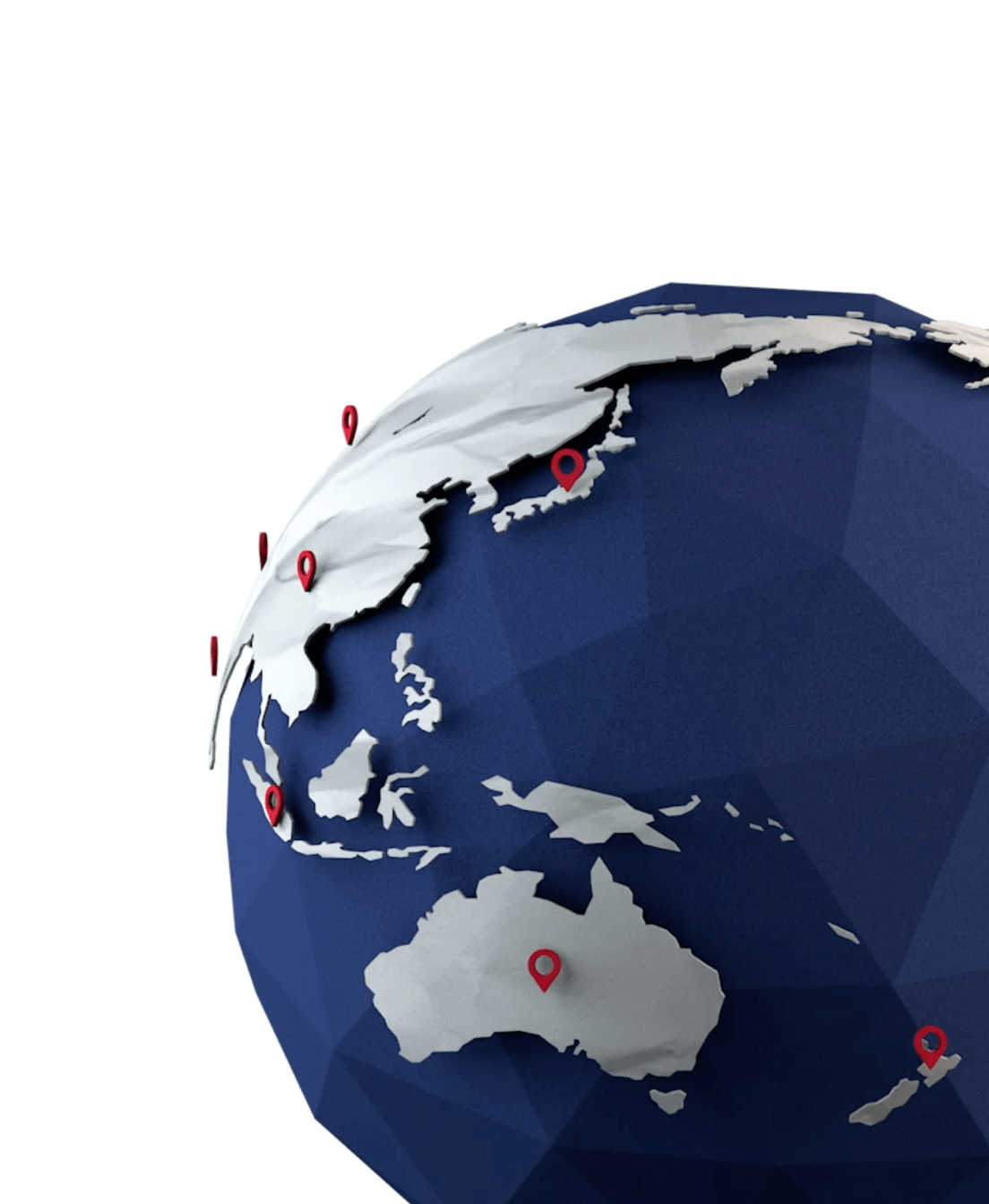 A render of the 3D globe created for the website