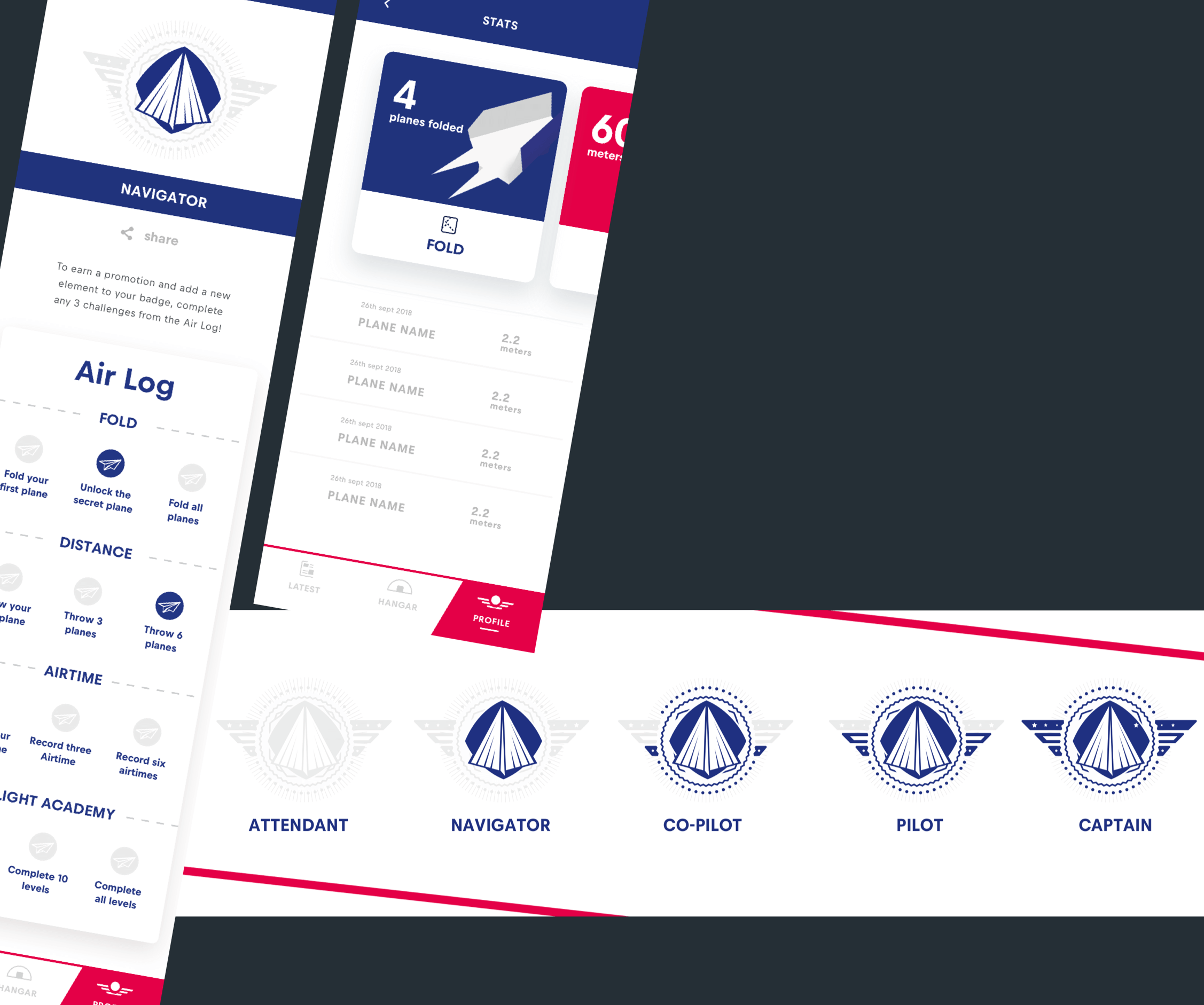 An example of the gamification of the mobile app showing the different ranks
