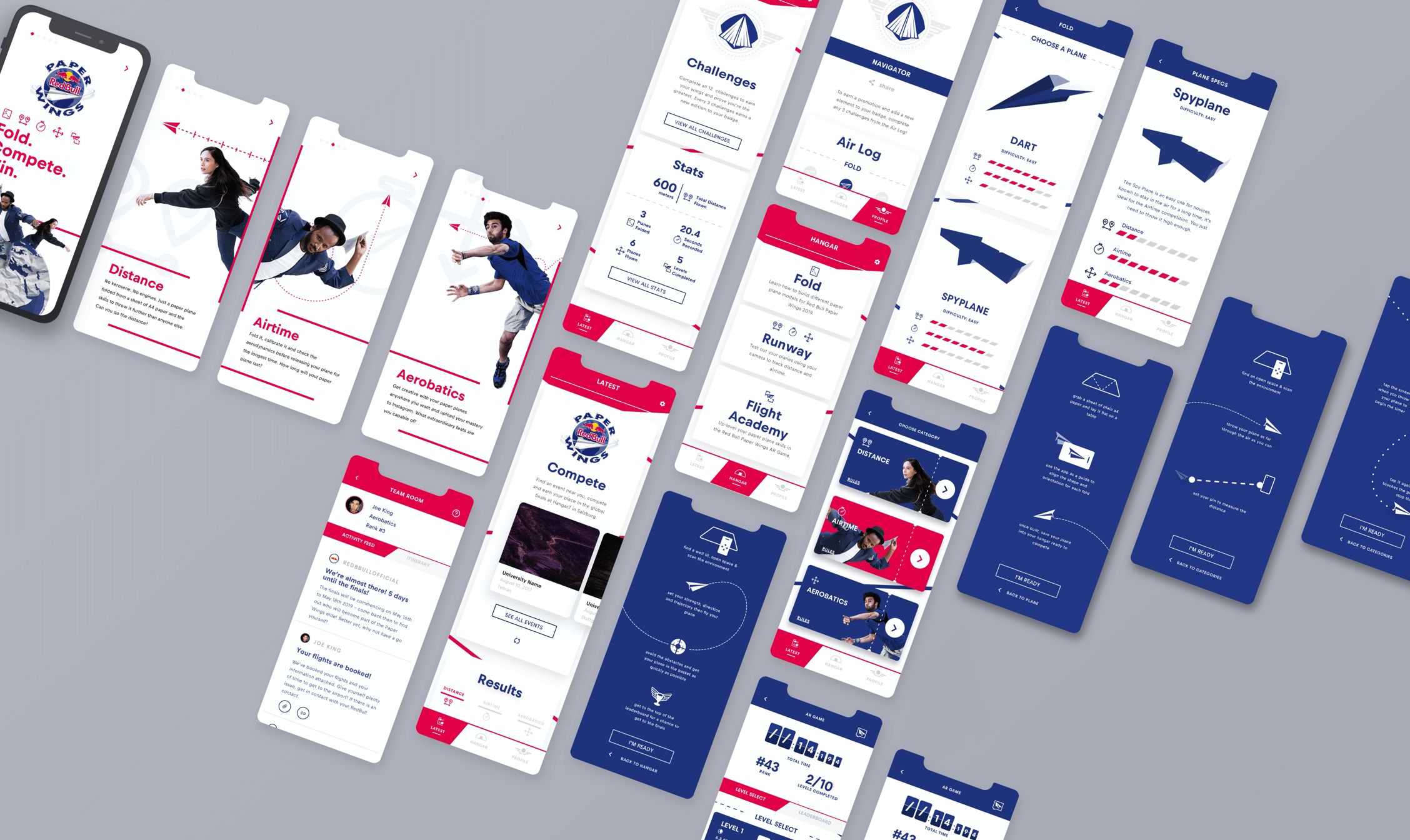 Angled shots of the many screens of the mobile app