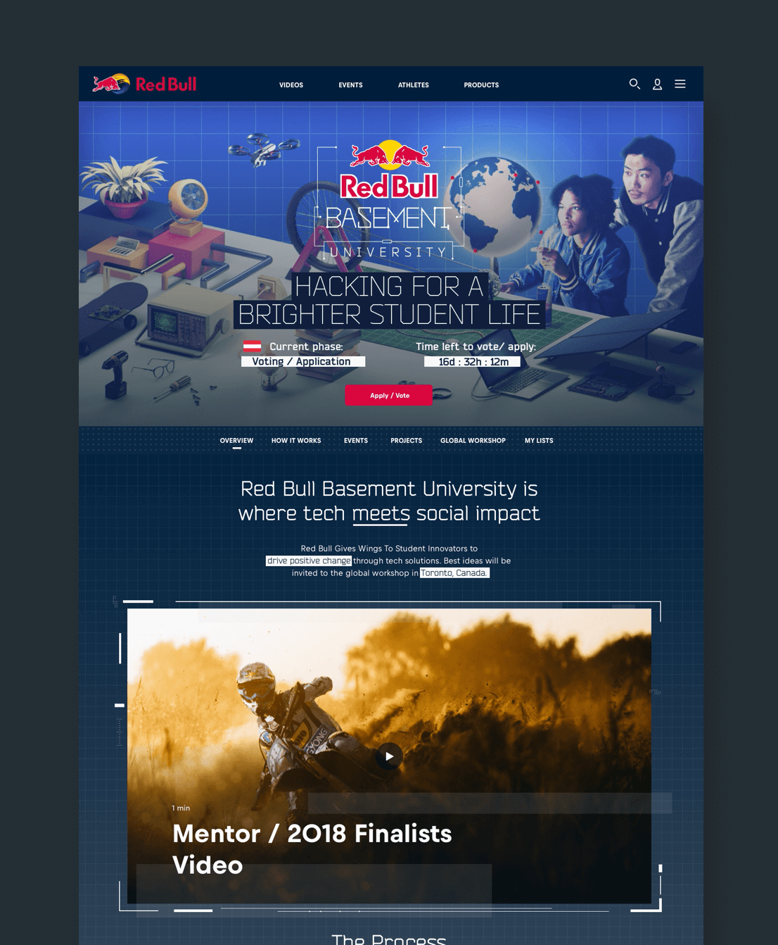A snapshot of the homepage for Red Bull Basement University