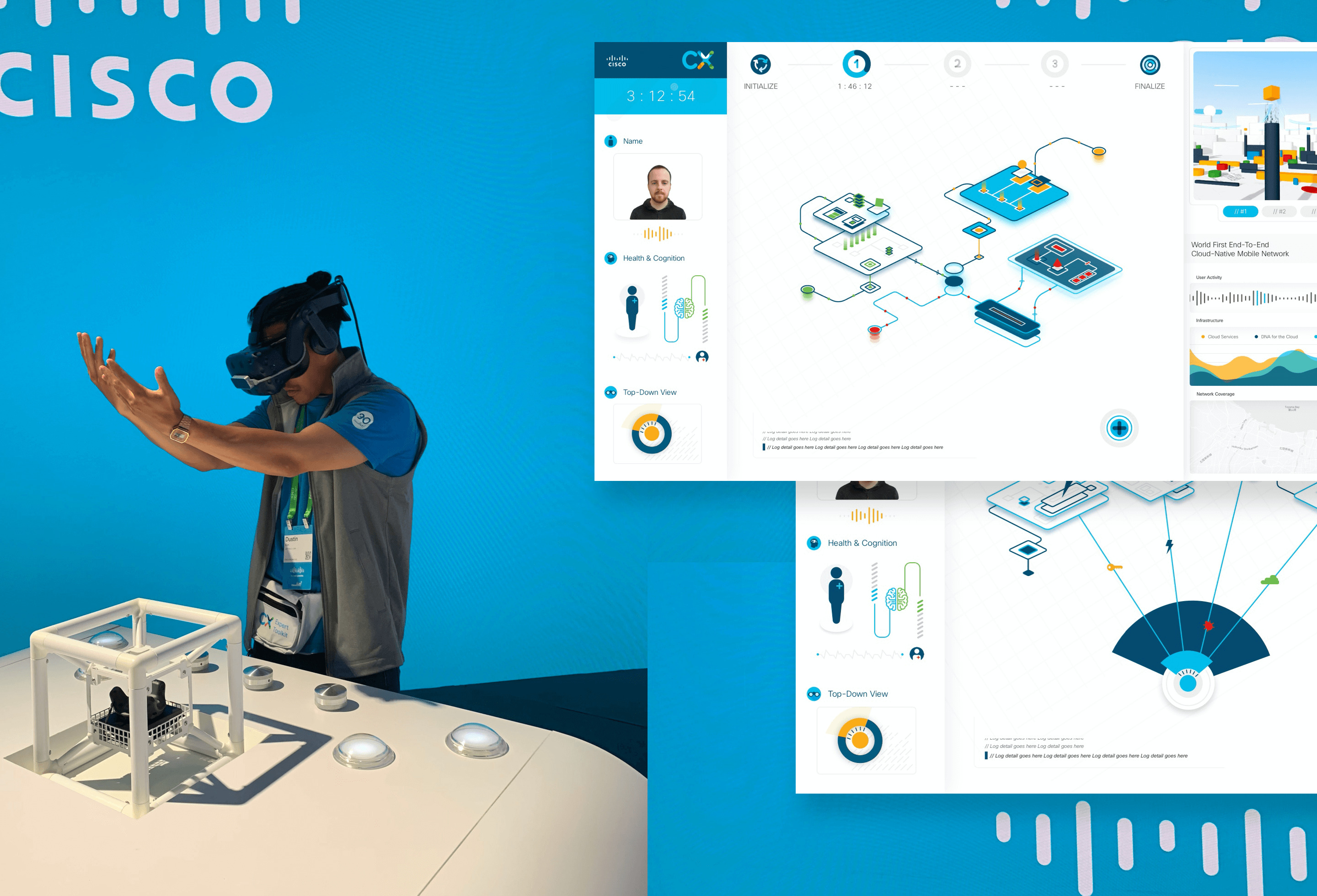 A participant in the experience alongside some UI Images