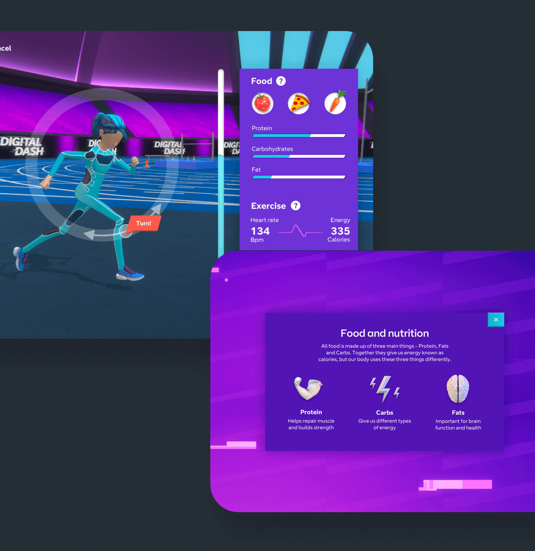 The UI for training where users get feedback on their choices