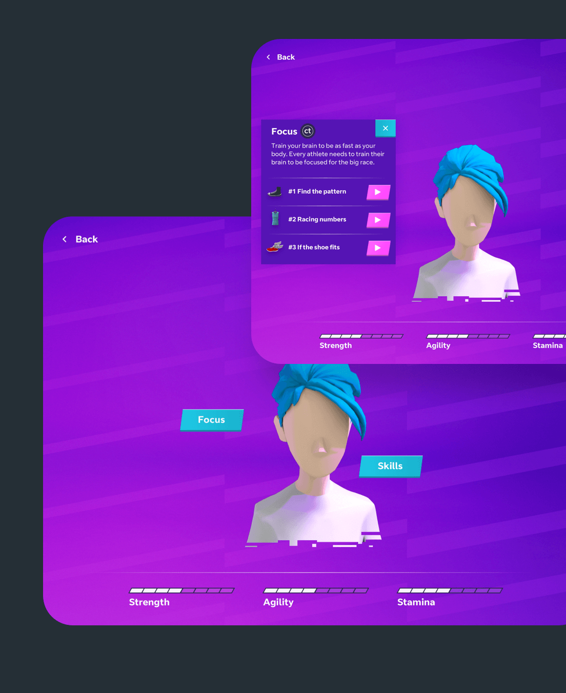 The UI for mind training on the iPad