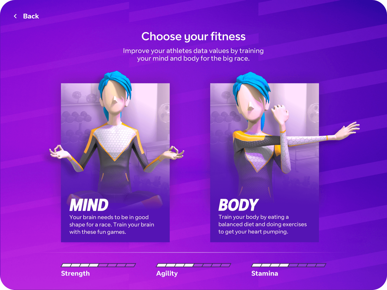 The choose your fitness screen of the iPad app
