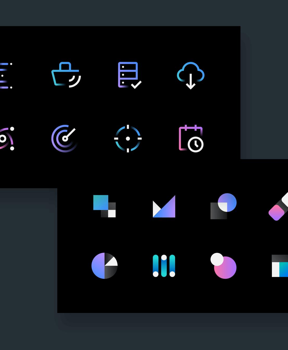 A set of IBM icons and symbols