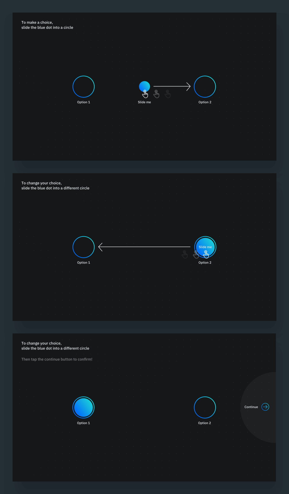 The first set of three onboarding screens