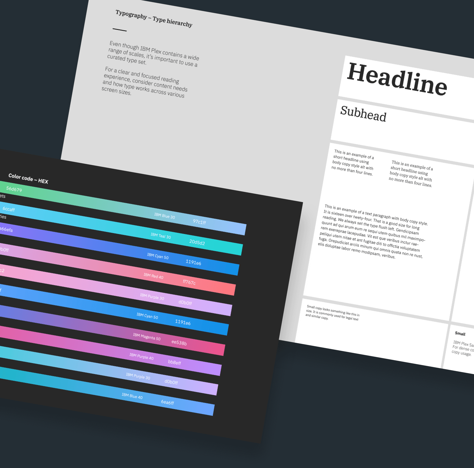 A shot of the IBM style guides referencing font and gradient choices