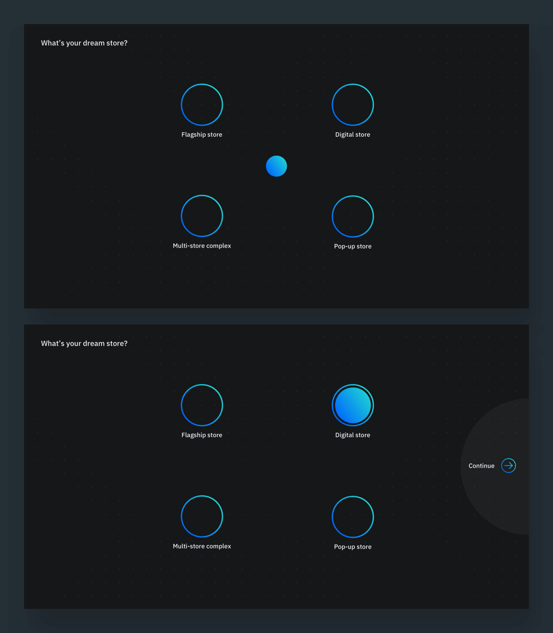 The second set of three onboarding screens
