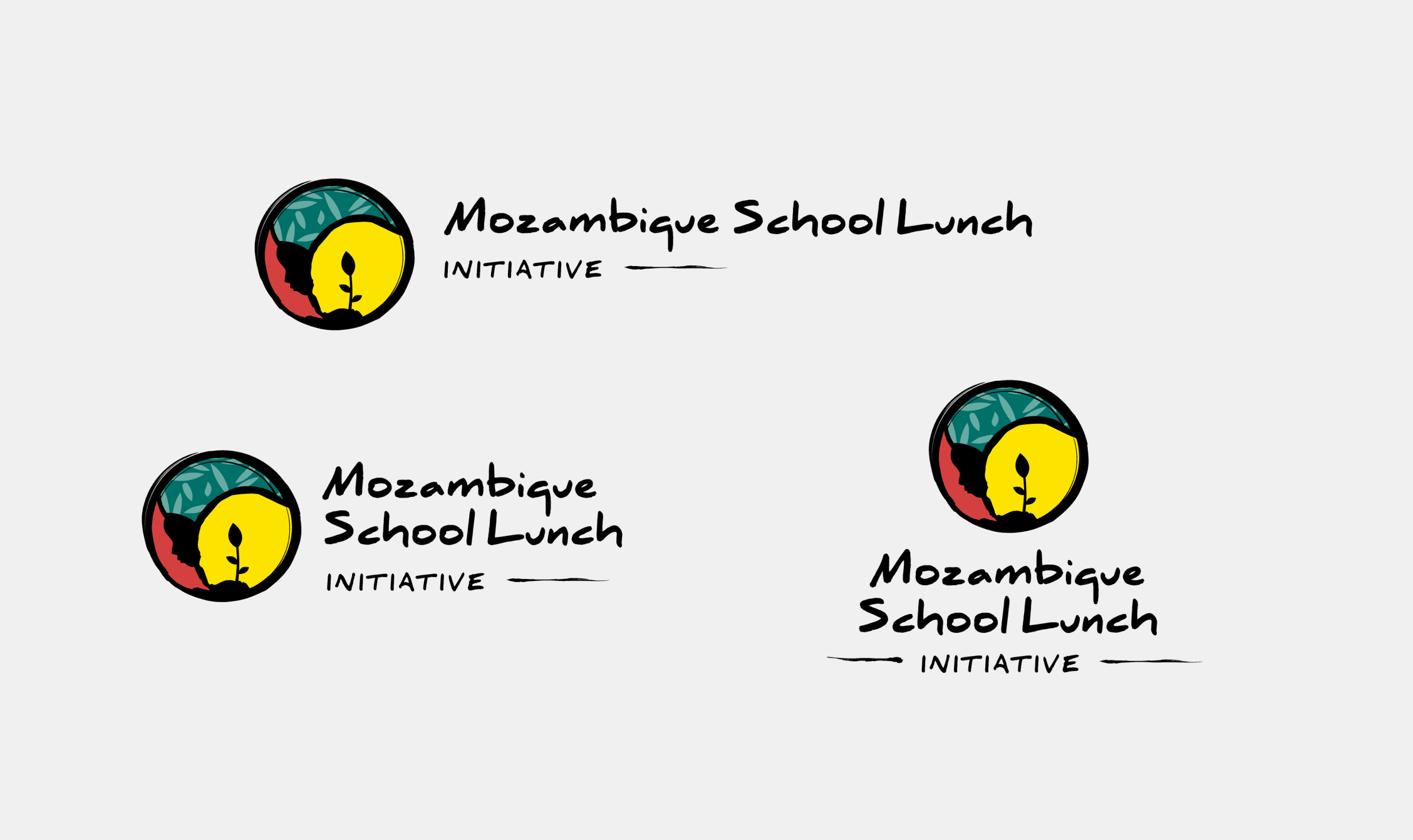 A series of Mozambique School Lunch Initiative logo lockups