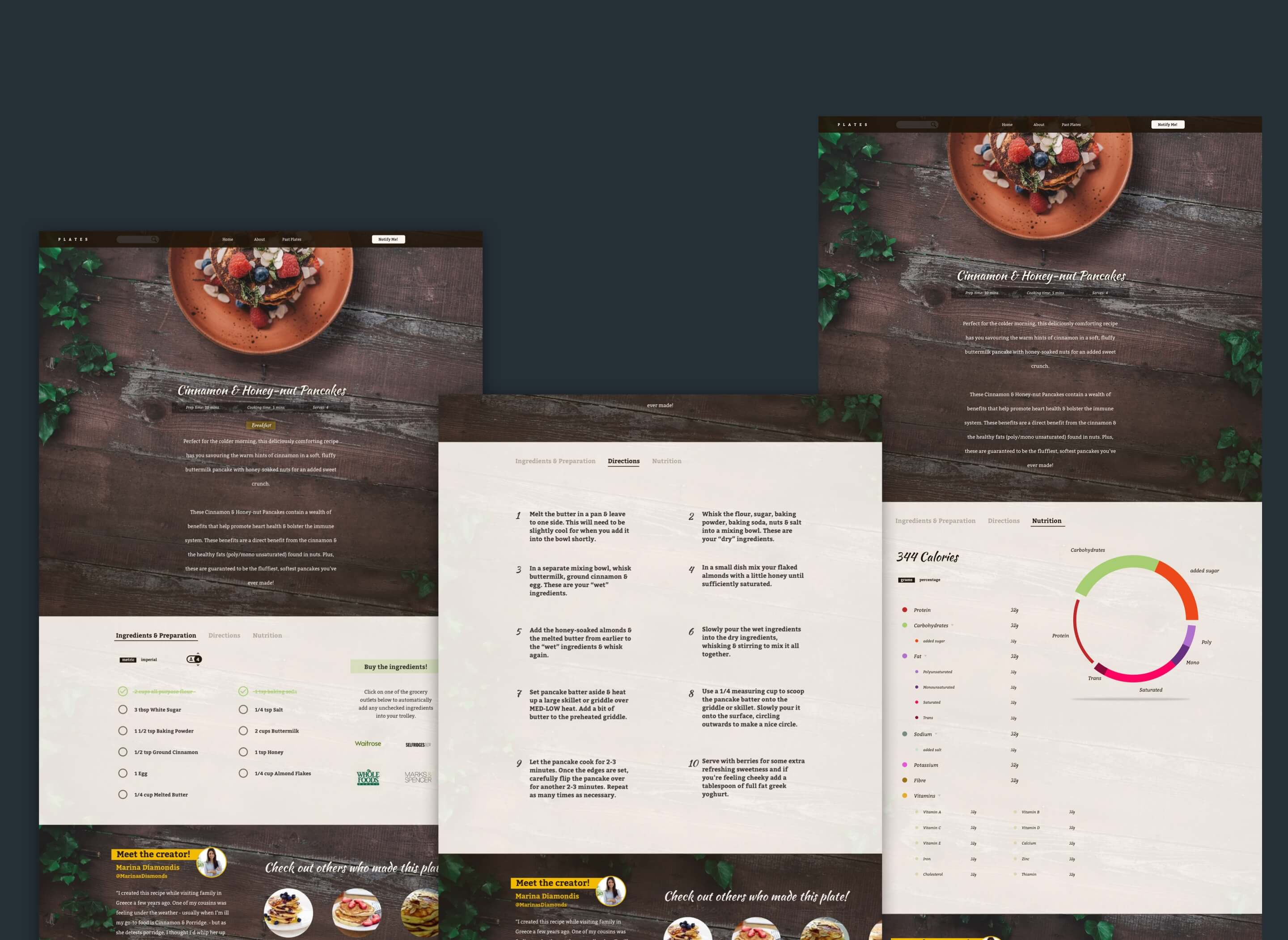 The view of the recipe information pages
