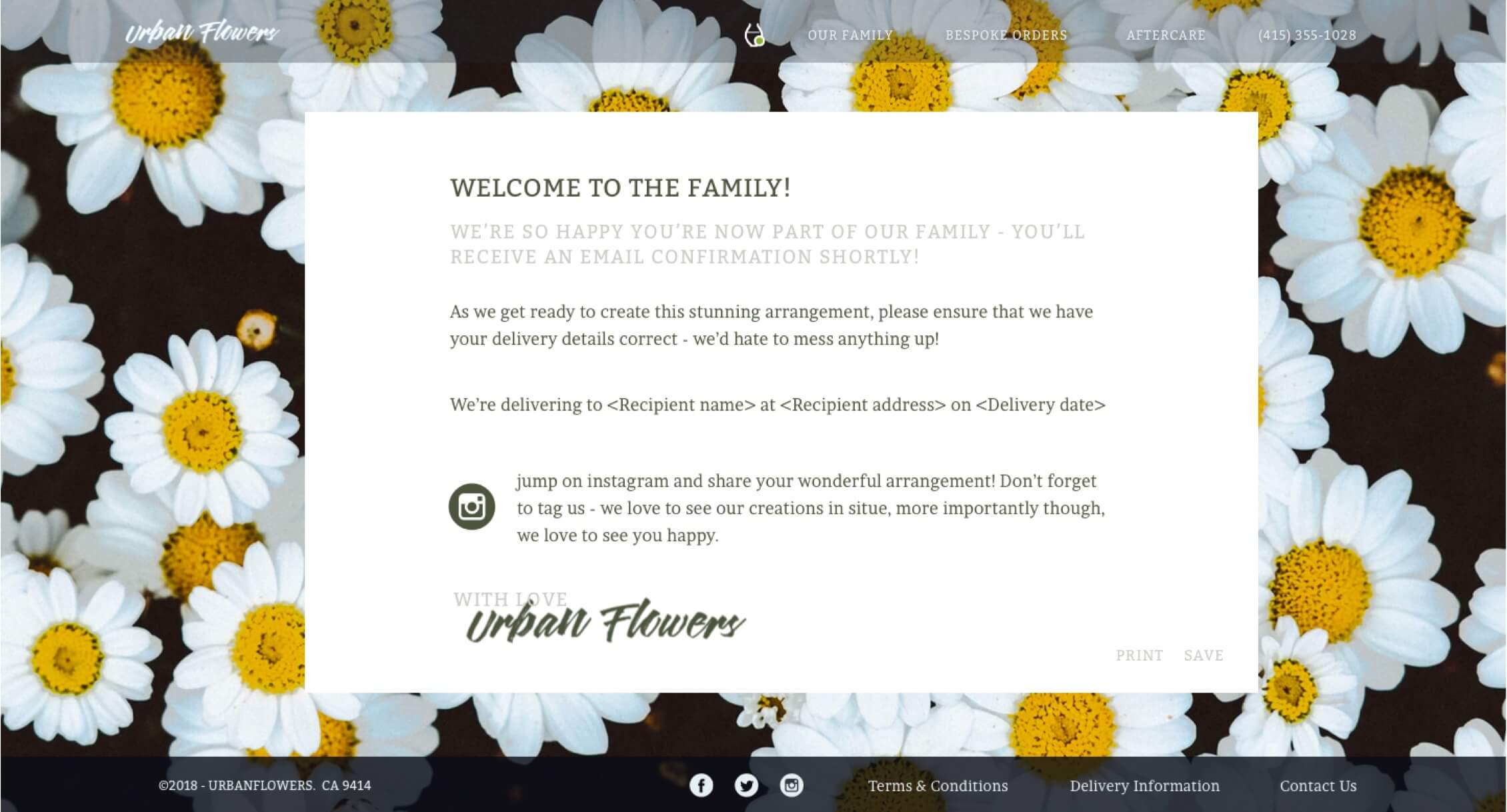 The confirmation page of the redesigned website