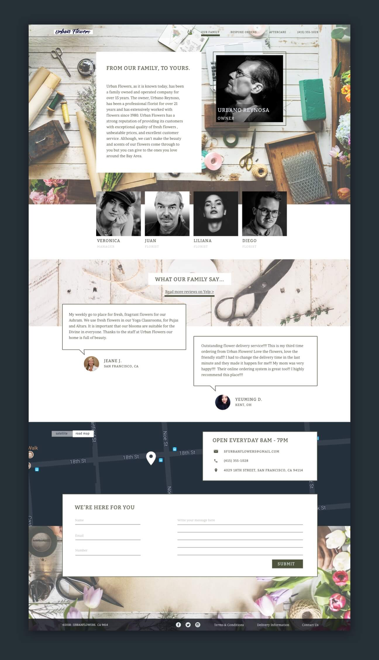 The About page of the redesigned website