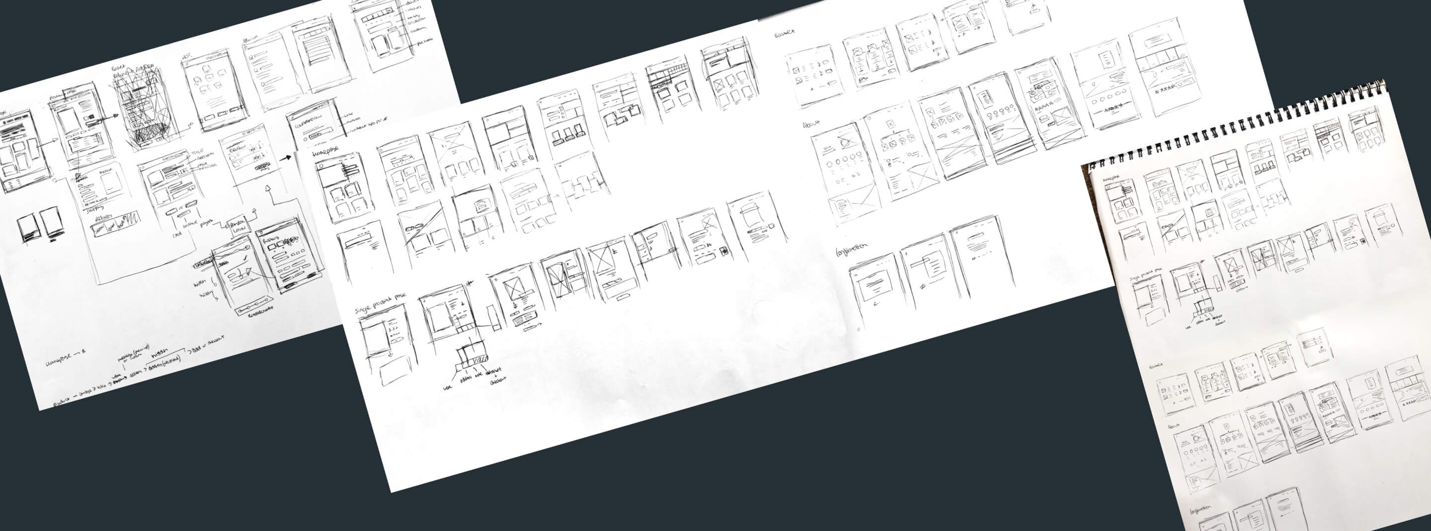 Wireframe sketches on notepads