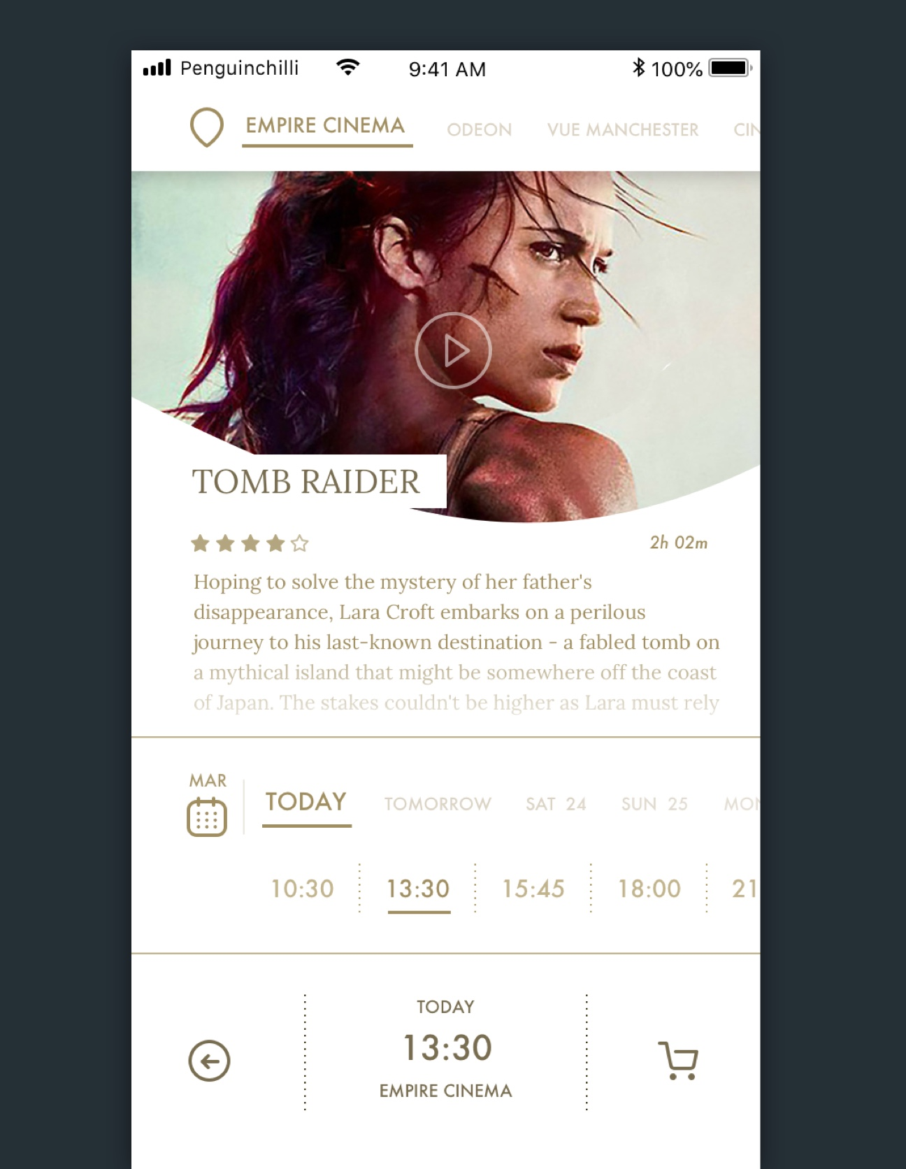 The film page details of the movie booking app