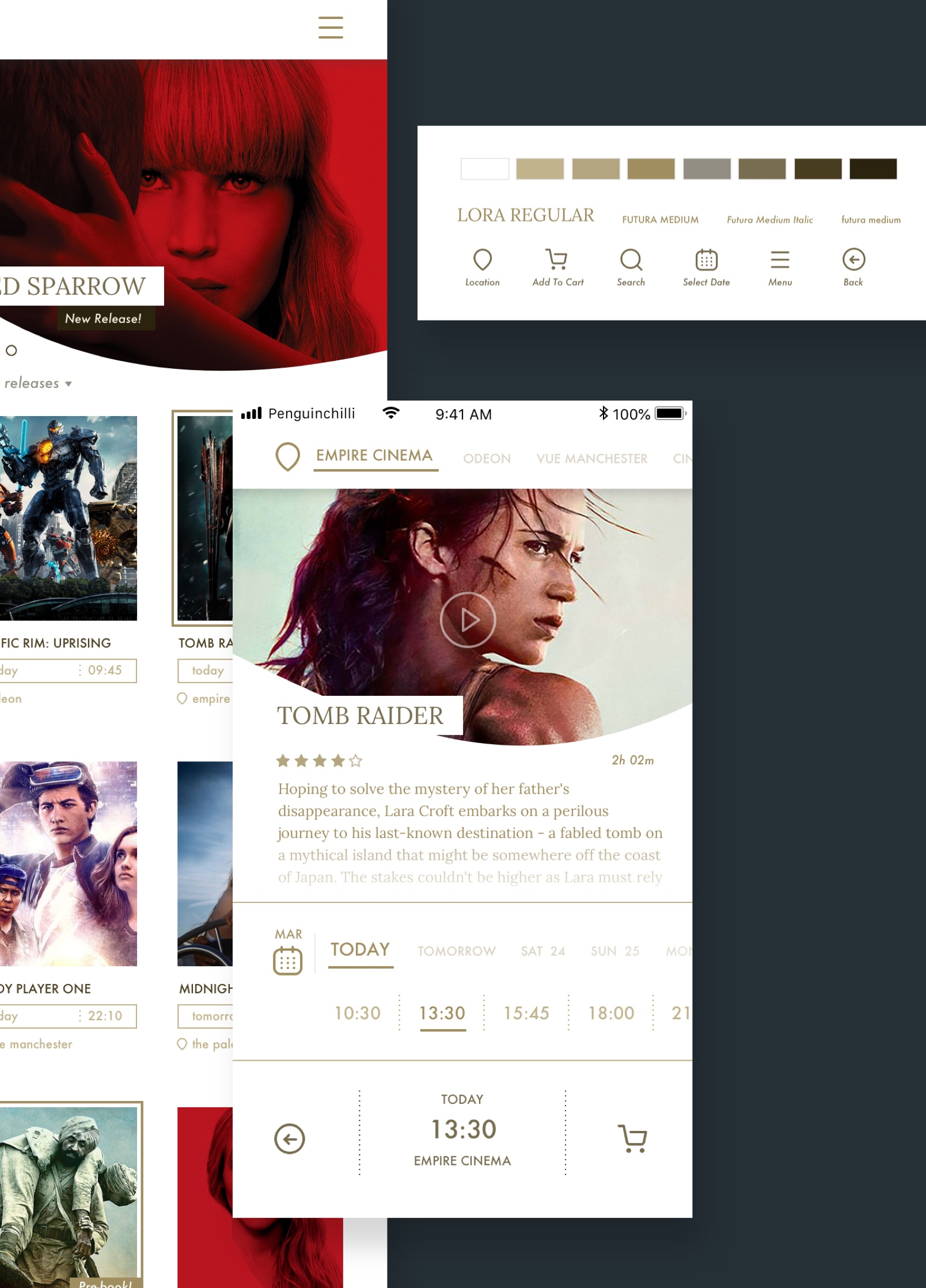 The styling for the movie booking app