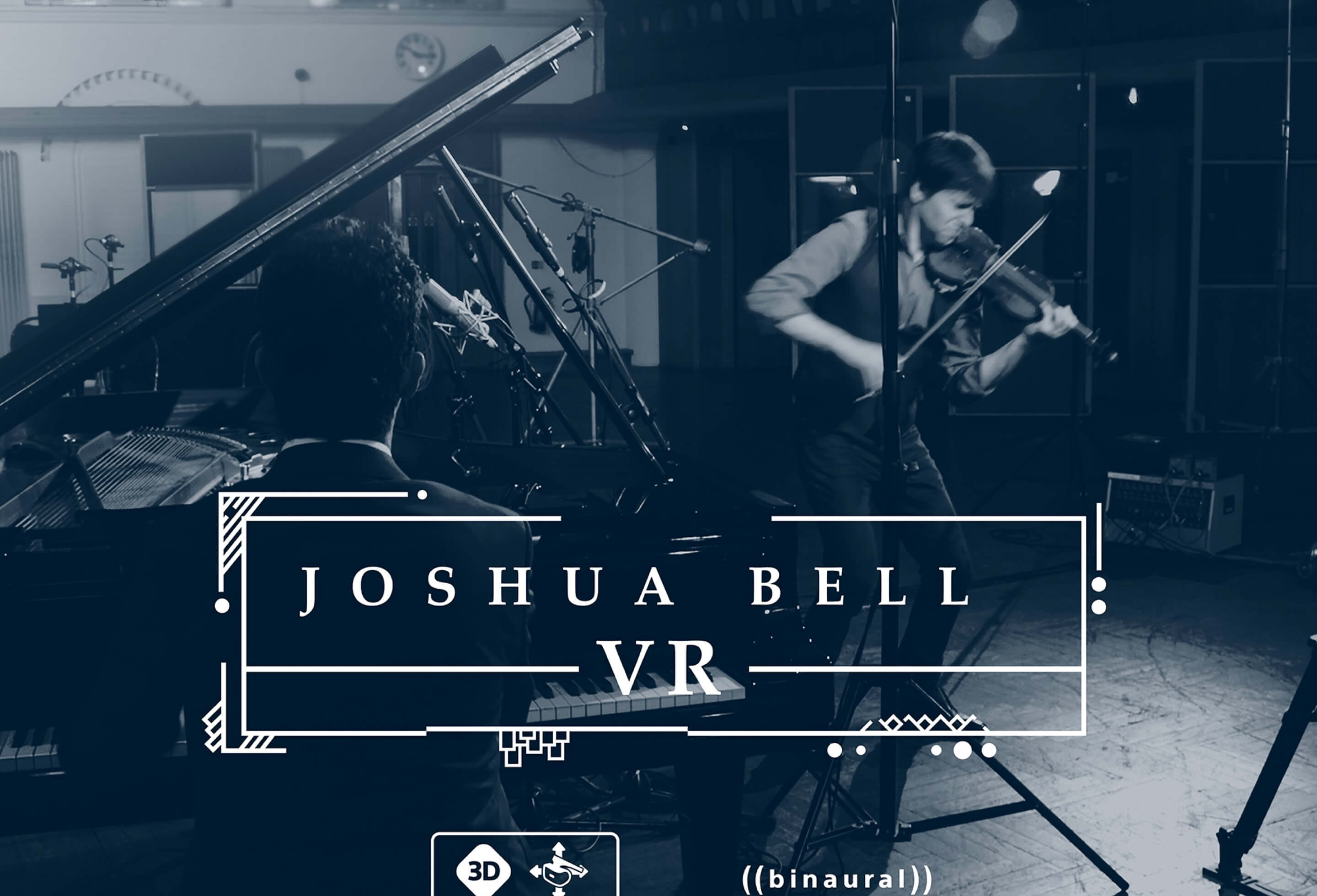The hero image for Joshua Bell VR showing Joshua Bell playing his Violin