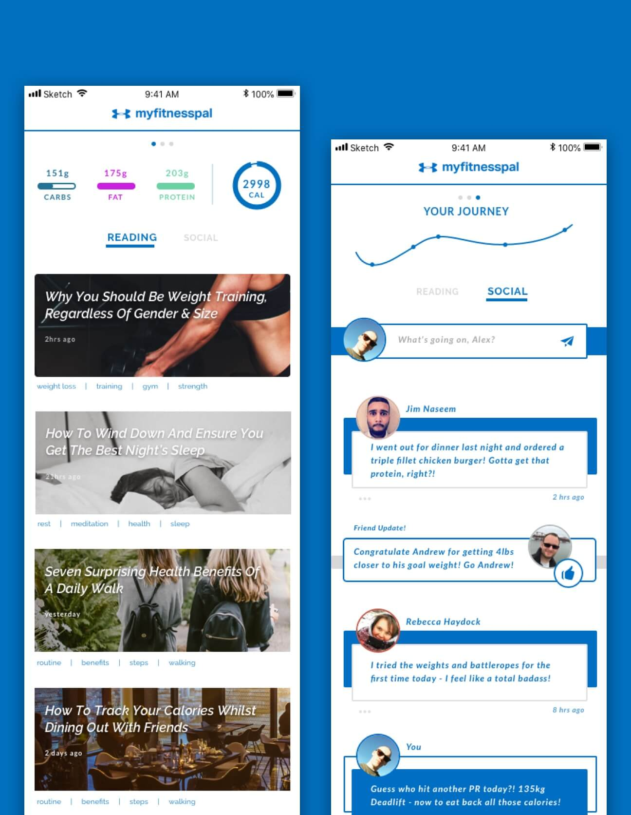 Designs for the social and article feeds for the app