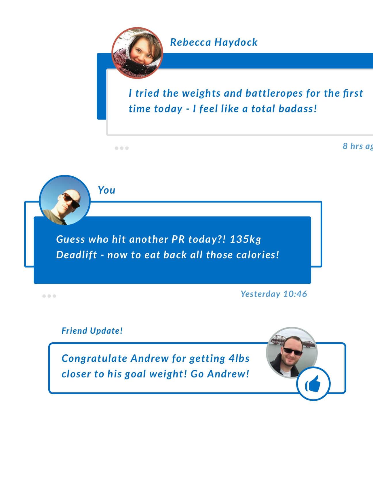 User and friend status designs