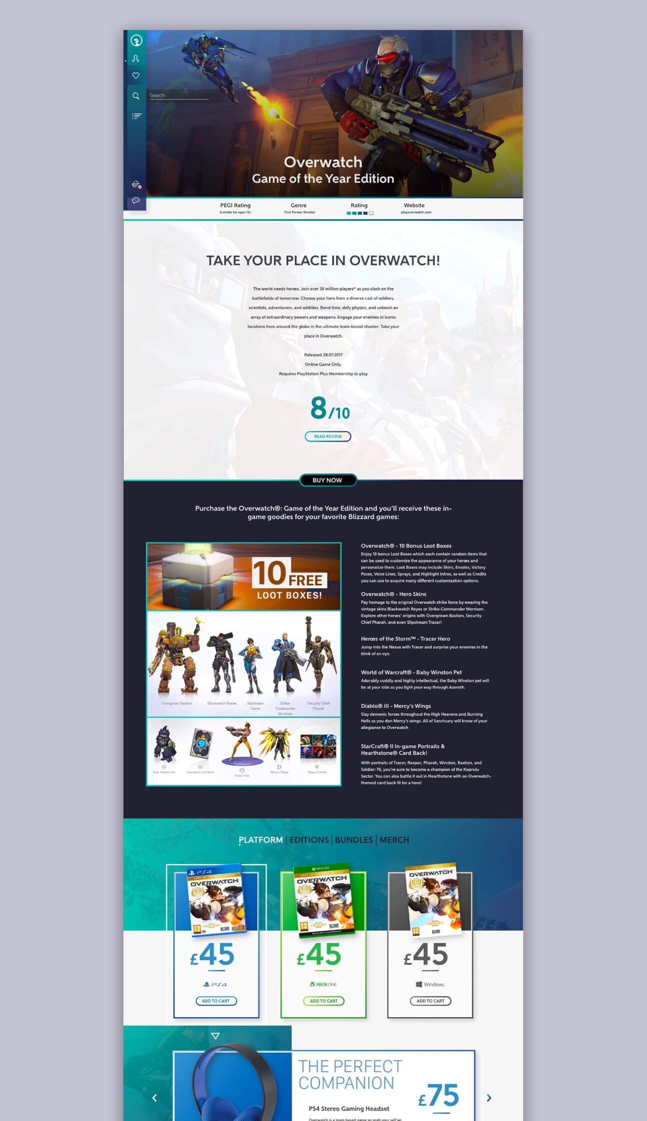 The Product Page for the website