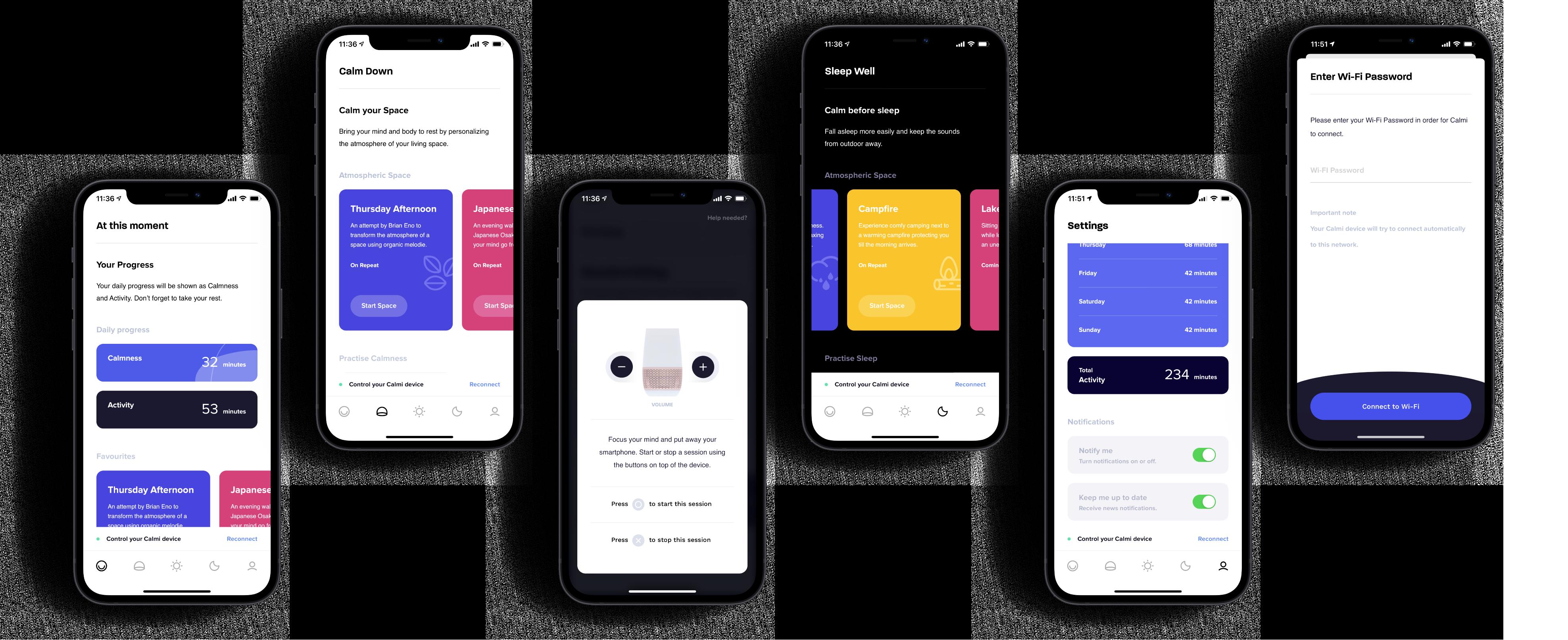 The design of the Calmi app displayed in screenshots.