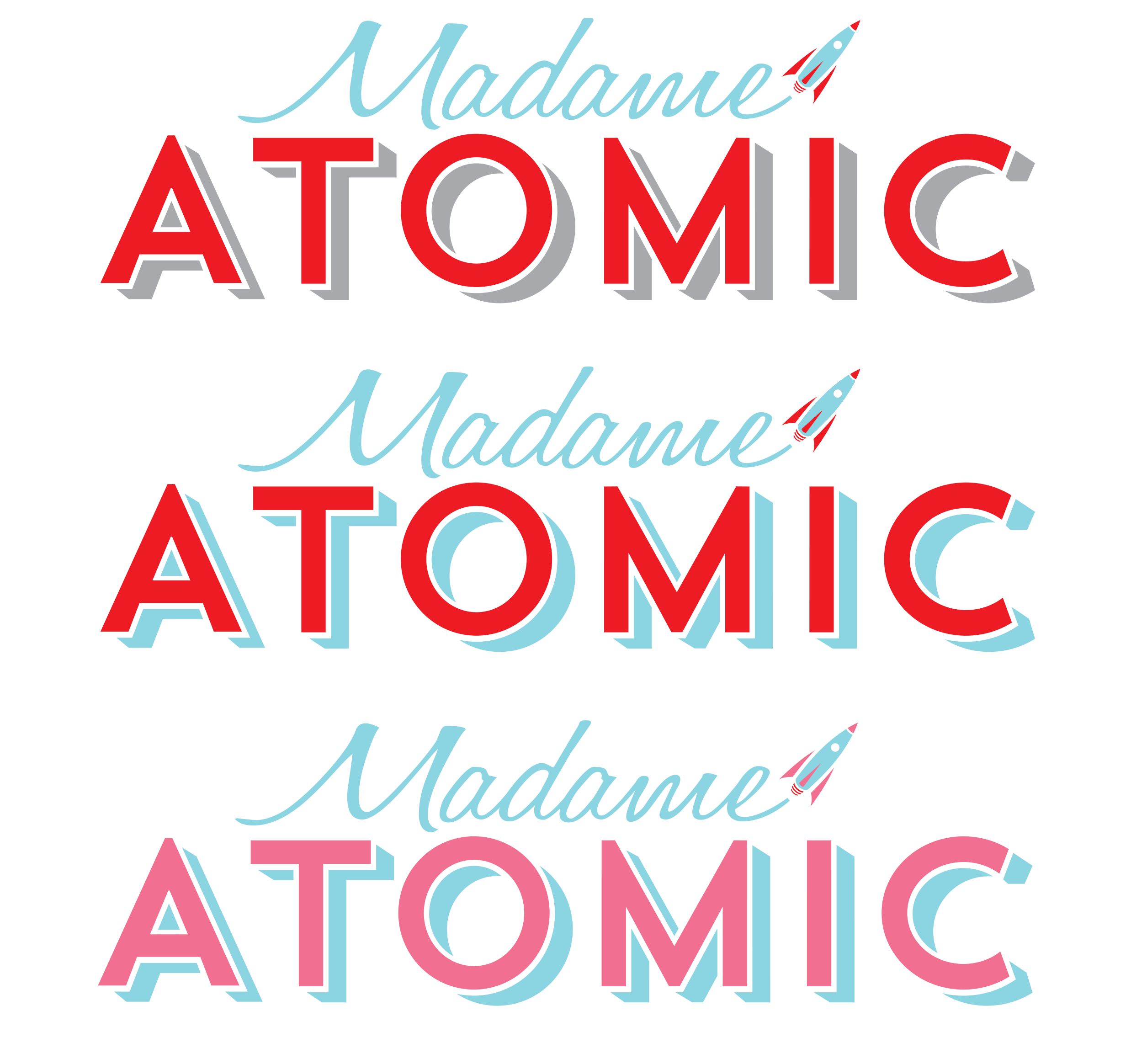 stunning modernist 50s atomic era logo with a cute rocket in alternate colourways