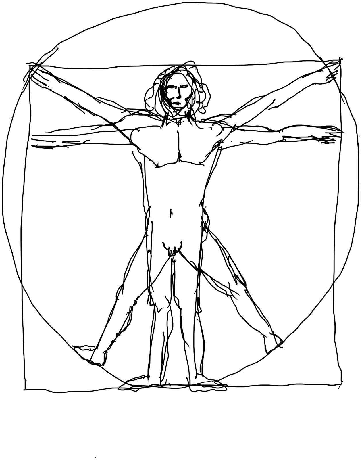 Sketch of Da Vinci's Vitruvian Man sketch