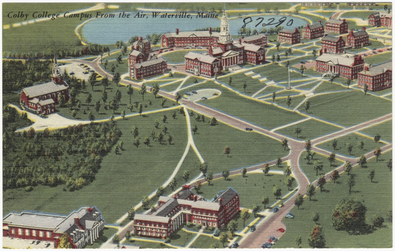 Old illustration of Colby College Campus