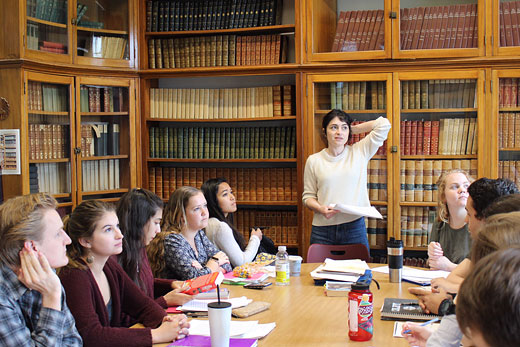 Sarah Braunstein teaching students at Colby College