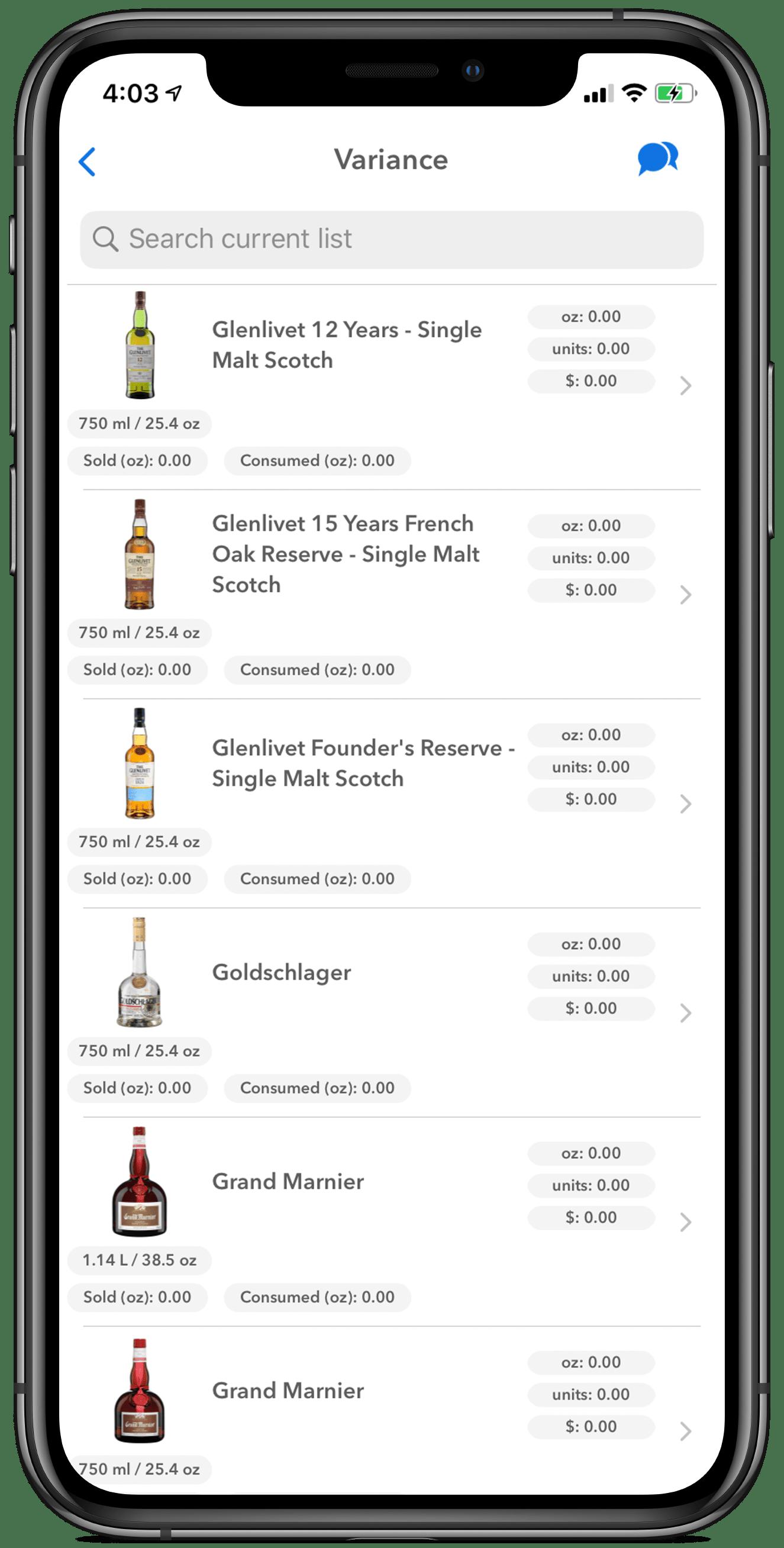 iphone screen, variance, liquor bottles, partender vs bevinco, wisk