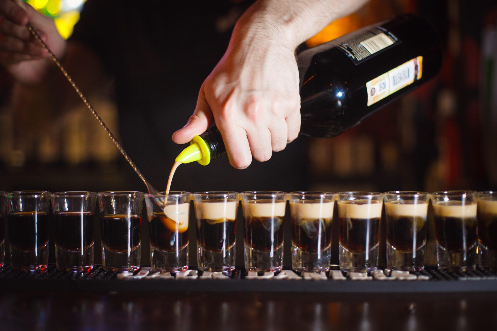 liquor, man, bartender, hand, bottle