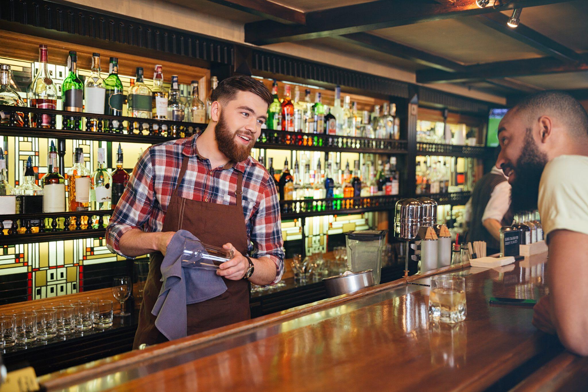 men, bar, bartender, liquor bottles, bar stock control