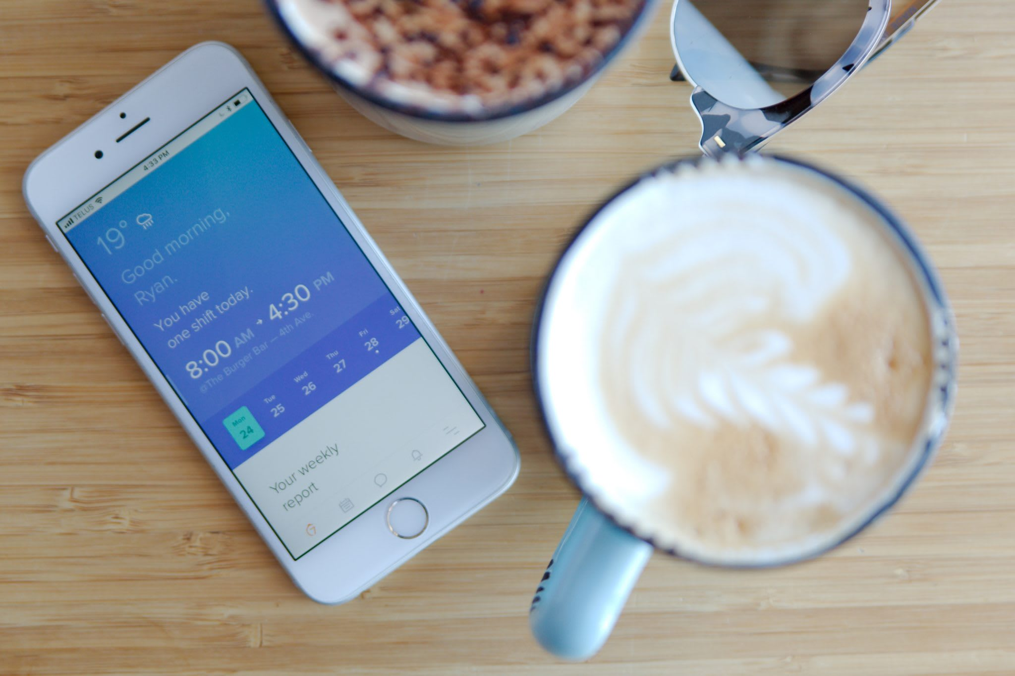 iphone, coffee, table