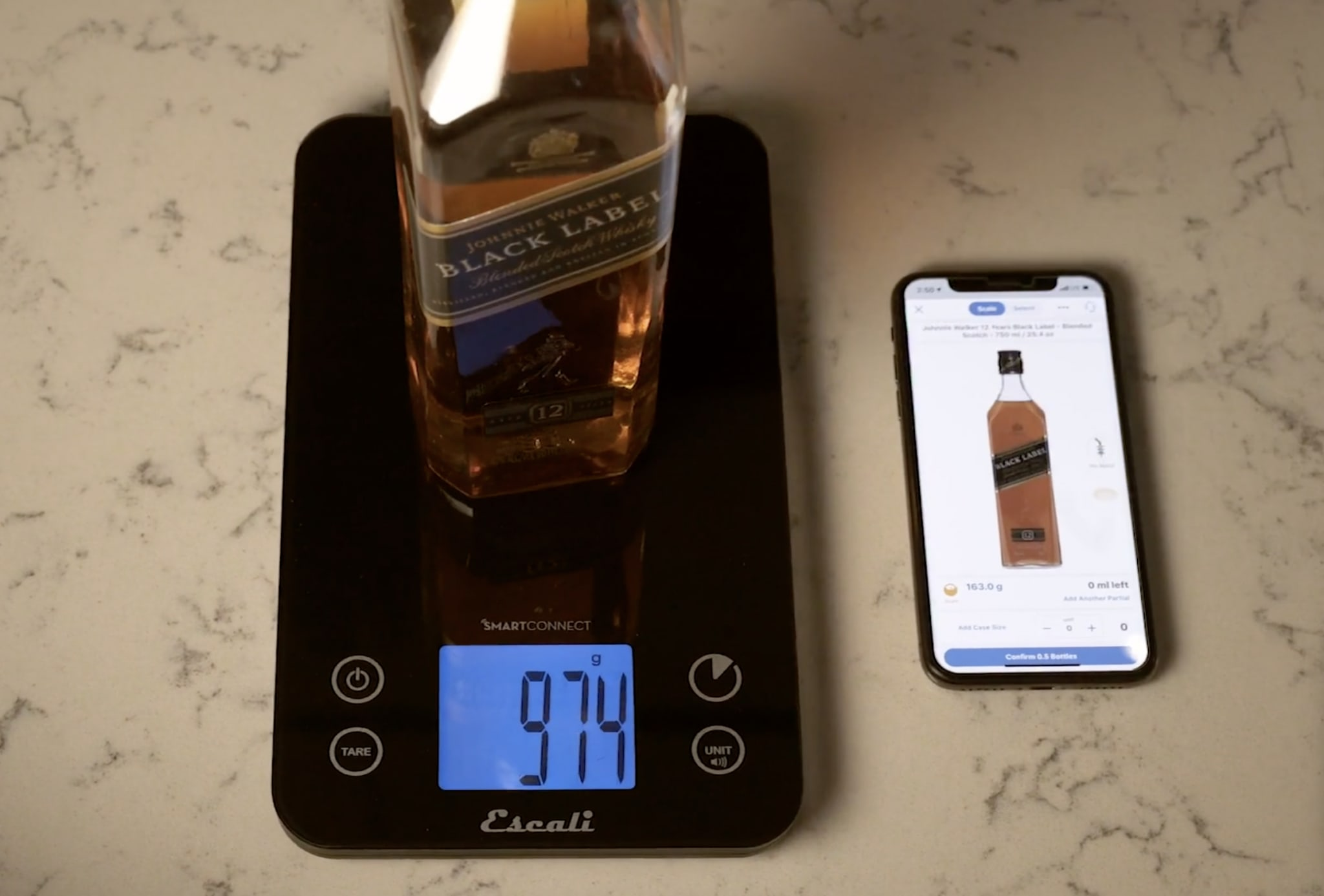 liquor bottle, iphone, scale, liquor inventory scale, wisk