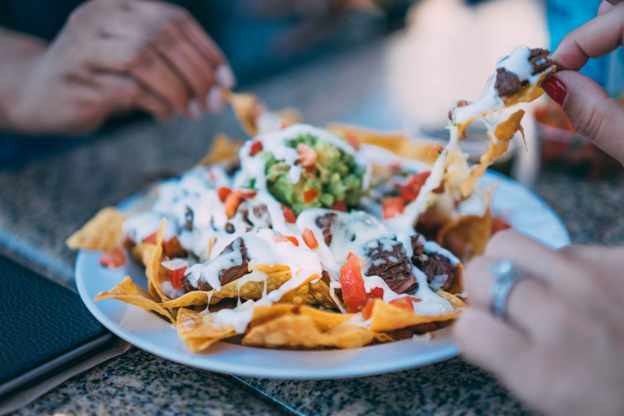 nachos, people, hands, seasonal restaurants, sales
