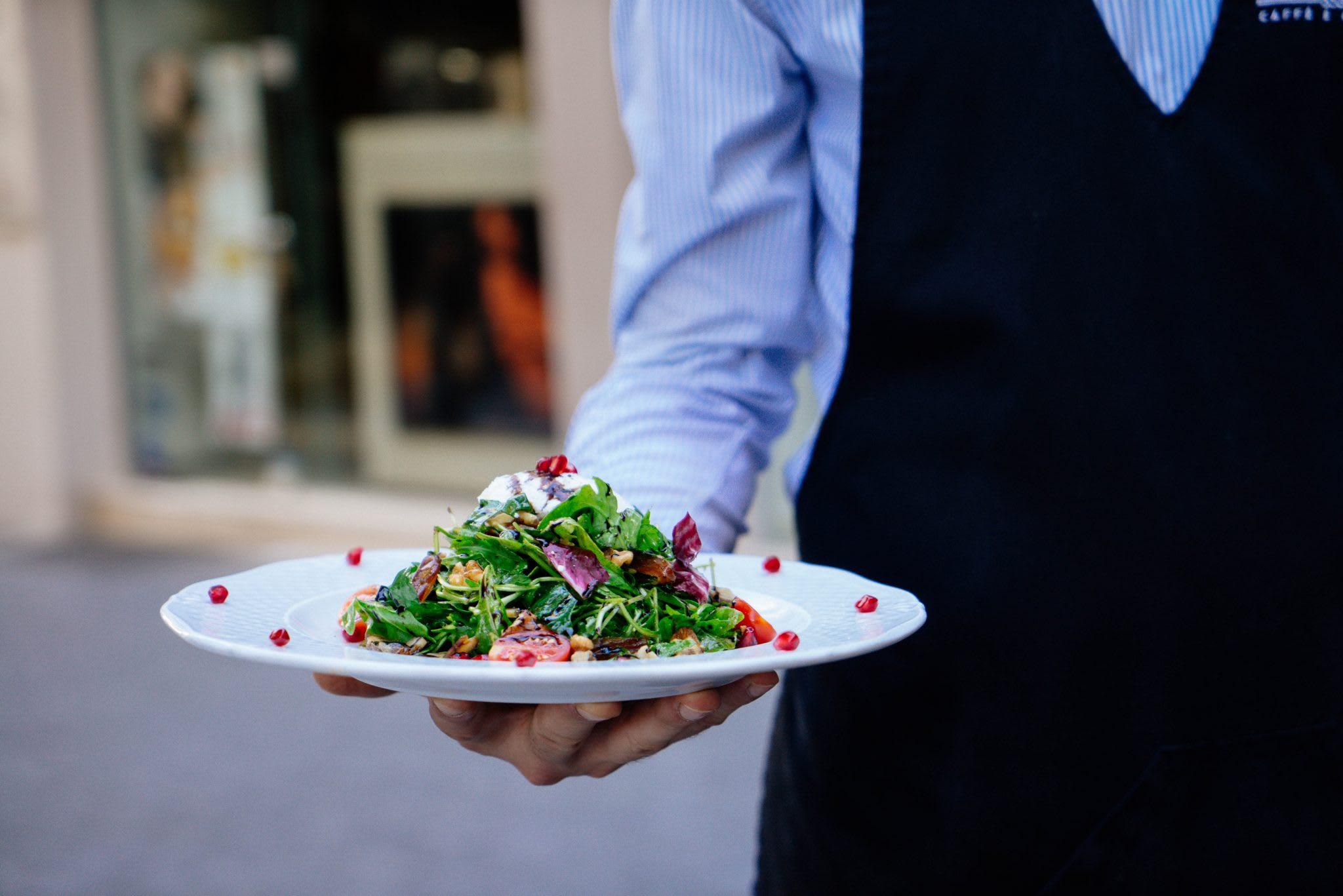 waiter, salad, food, seasonal restaurants, staff