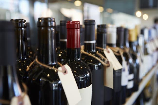 bottle of wine on a shelf