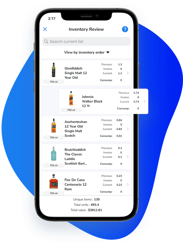Image of cellphone with WISK bar inventory app that integrates with POS systems