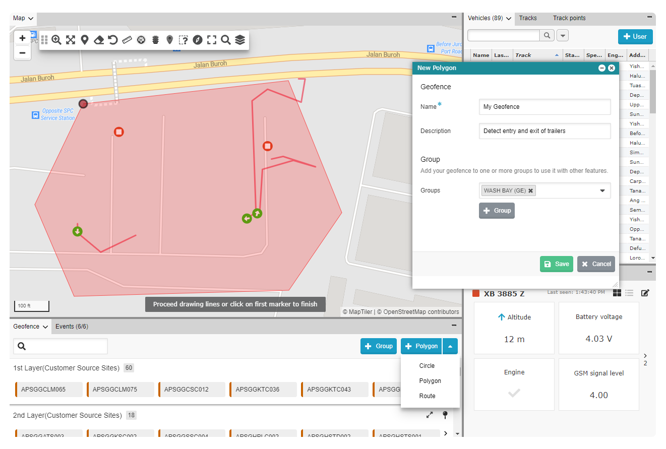 Geofencing for Singapore constructions sites for APSG, TSSG, TMSG, KTC