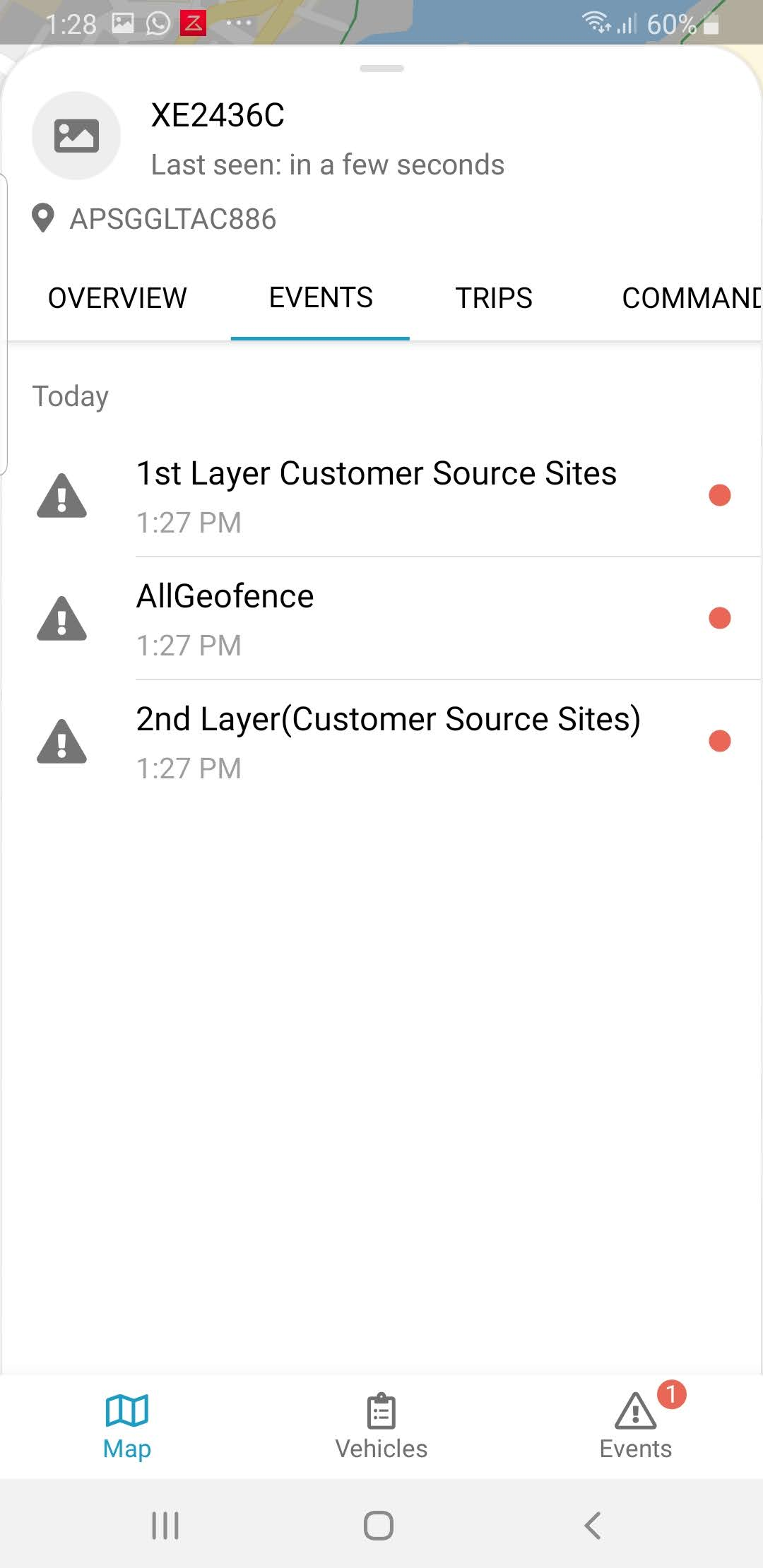 FleetManager Mobile App showing events records