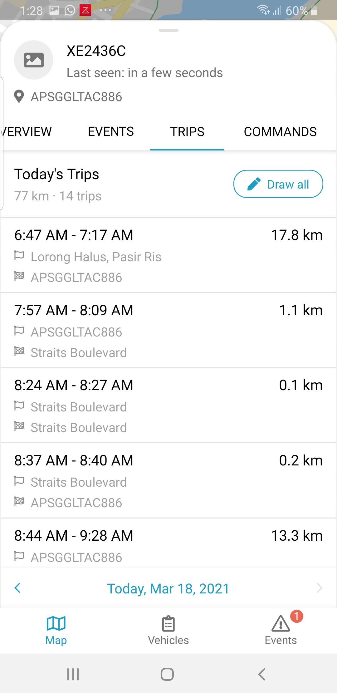 FleetManager Mobile App showing trip records of vehicle