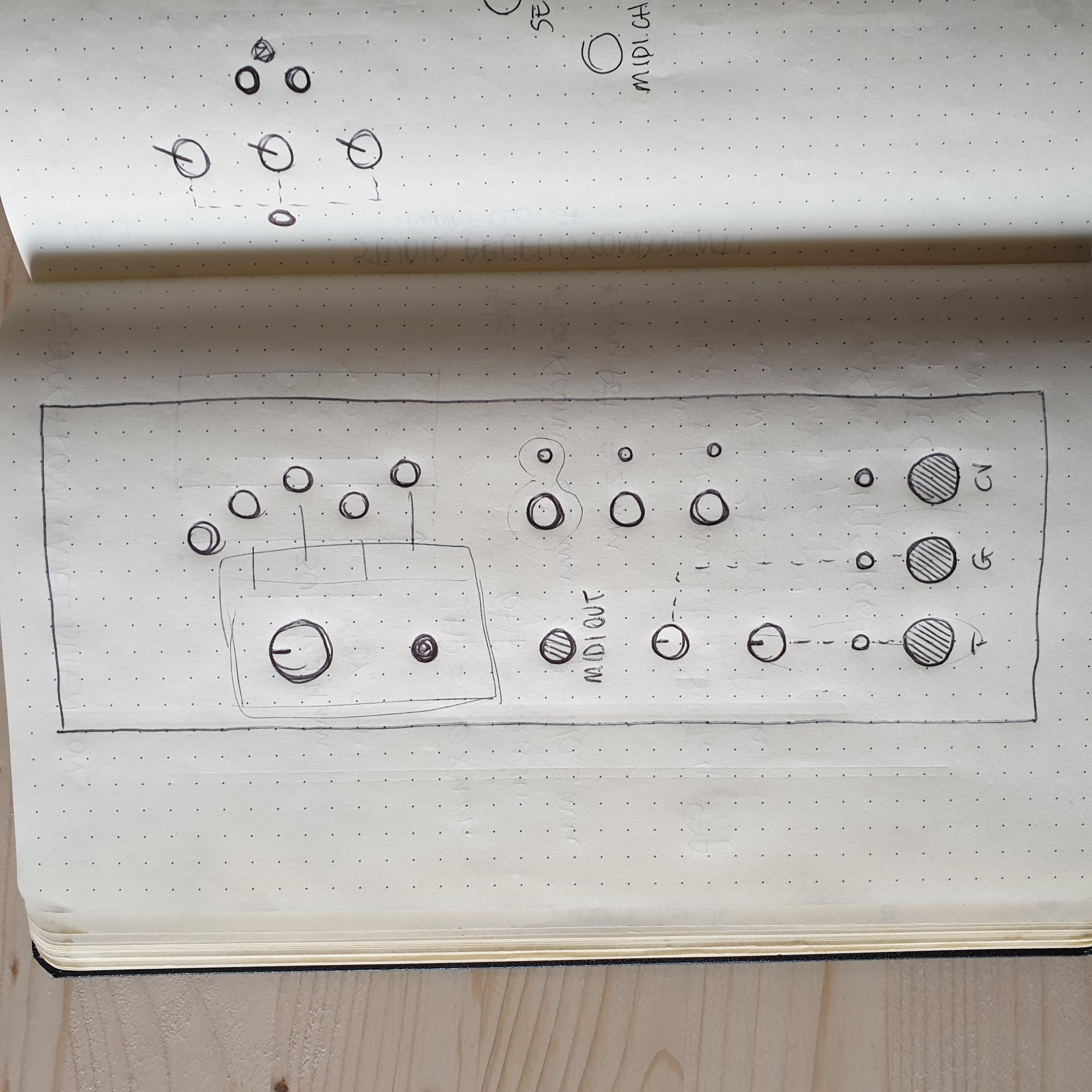 First layout sketch // Garden Listener // Clatters Machines
