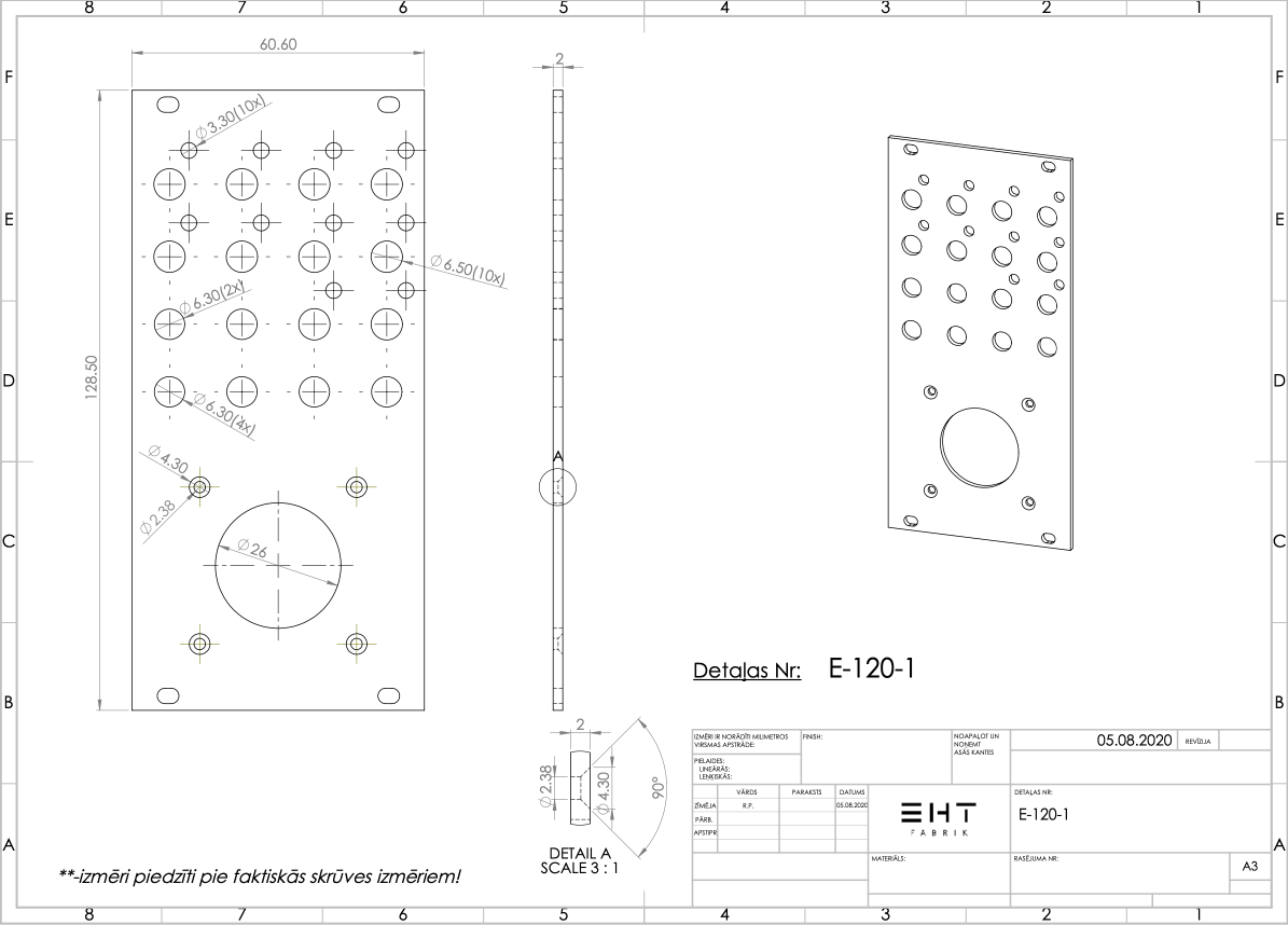 Erica Synths // Joystick II // Panel technical drawing