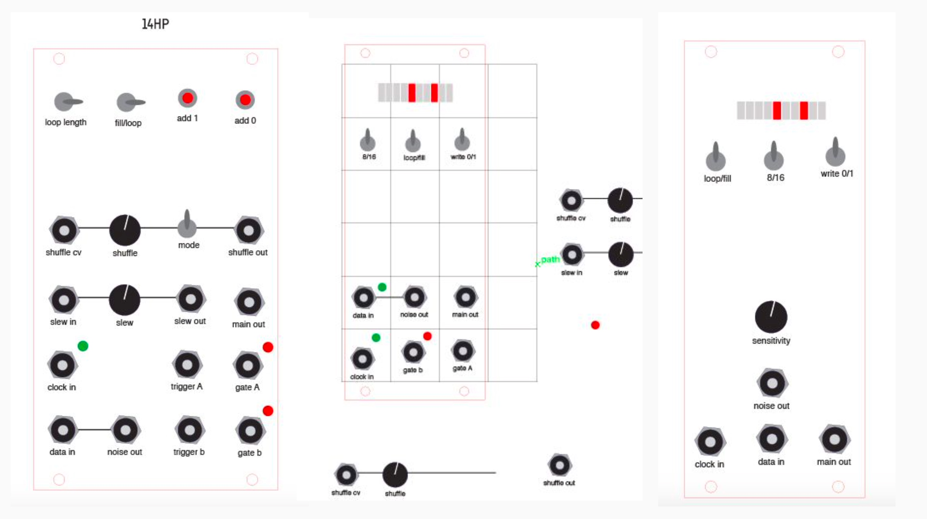 Music Thing Modular // Tom Whitwell // Turing Machine initial Illustrator interfaces