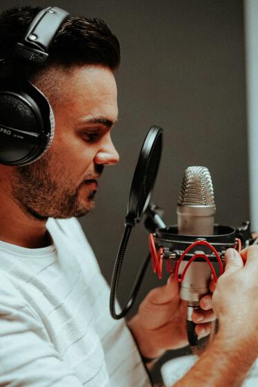 radio host preparing his setup