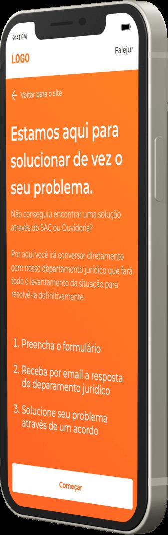 iphone exibindo o formulario do falejur no site da empresa