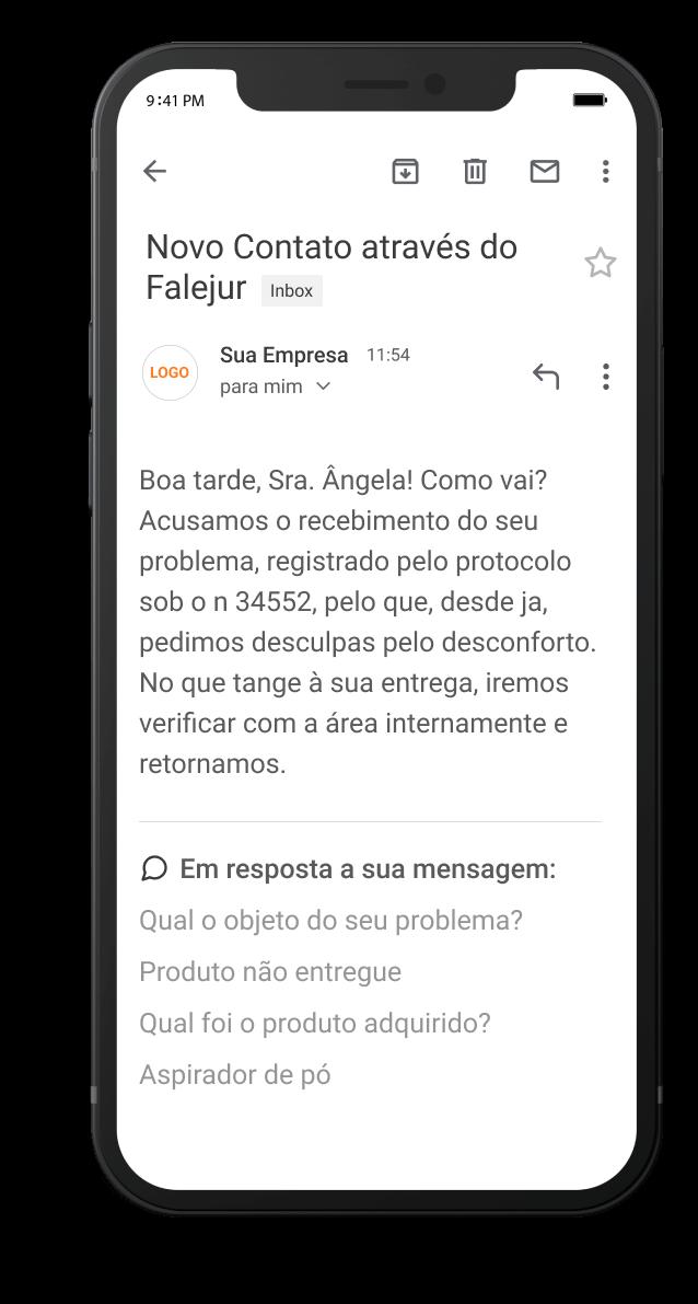 iphone exibindo email do falejur recebido pelo consumidor