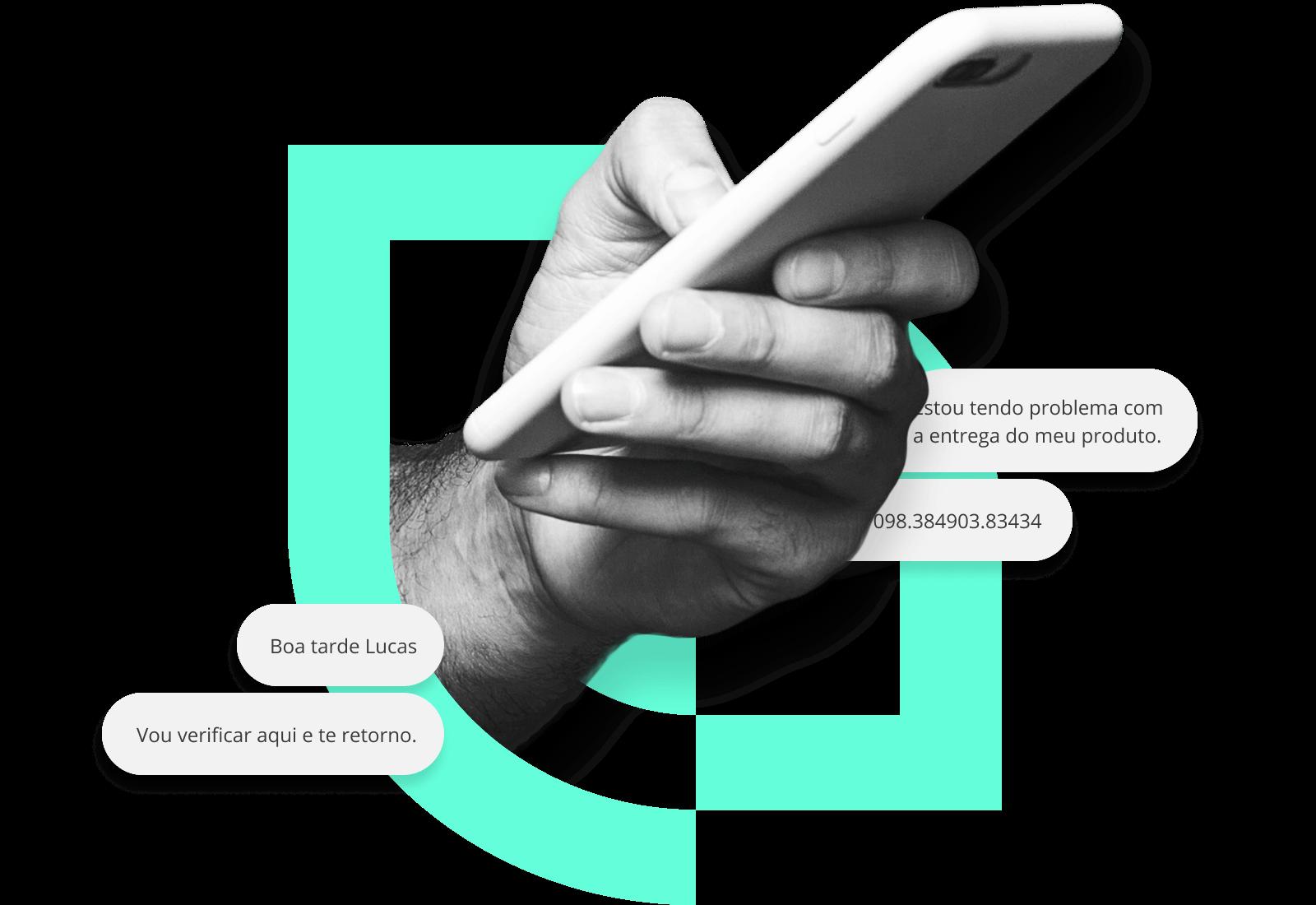 colagem exibindo uma mao segurando um smartphone enviando mensagens