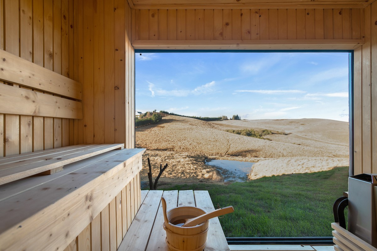 The new sauna is sizzling hot with one cool view